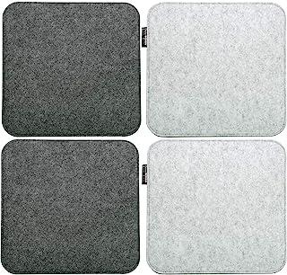 DuneDesign 4 Cojines de Fieltro para Sillas 35x35cm Cuadrado 8mm 2-Colores Gris
