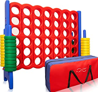 Jumbo 4-to-Score Giant Game Set, with Storage Carry Bag Included | Life Size Connect-All-Four Game | 4 in A Row for Kids a...