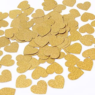 MOWO Glitter Heart Paper Confetti Wedding Party Decor and Table Decor 1.2'' in Diameter (Gold glitte,200pc)