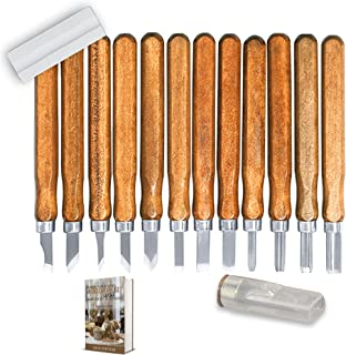 Wood Carving Tools: Carbon Steel, Wooden Handles, Professional. Set of 12 Pieces with Free Sharpening Stone Included. Great for Wood, Linoleum, Plastic, Soap, Wax Carving. Free EBOOK