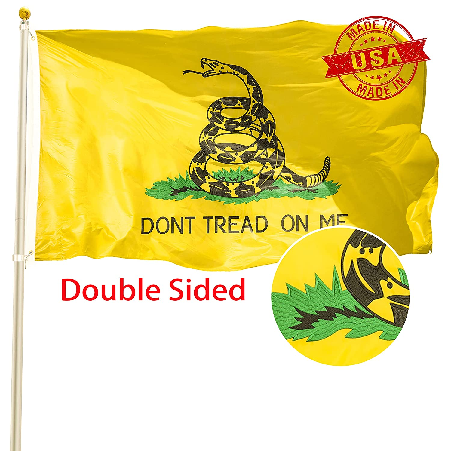 TOAUOT Double Sided 3x5ft Gadsden Dont Max 84% OFF on Flag Tread - Me Free shipping anywhere in the nation Embroi