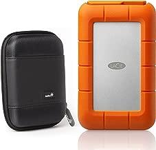 LaCie Rugged Thunderbolt USB-C 4TB Portable Hard Drive STFS4000800 Ivation Compact Portable Hard Drive Case (Large)