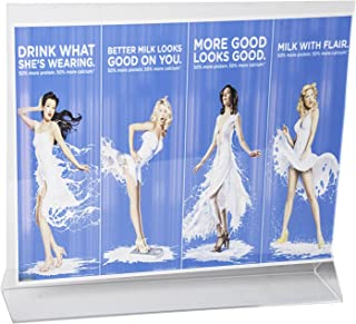 Clear-Ad - Acrylic Sign Holder 11x8.5 - Upright Table Menu Card Display Stand - Plastic Double Sided Picture Frame Wholesale - LHB-1185 (Pack of 25)