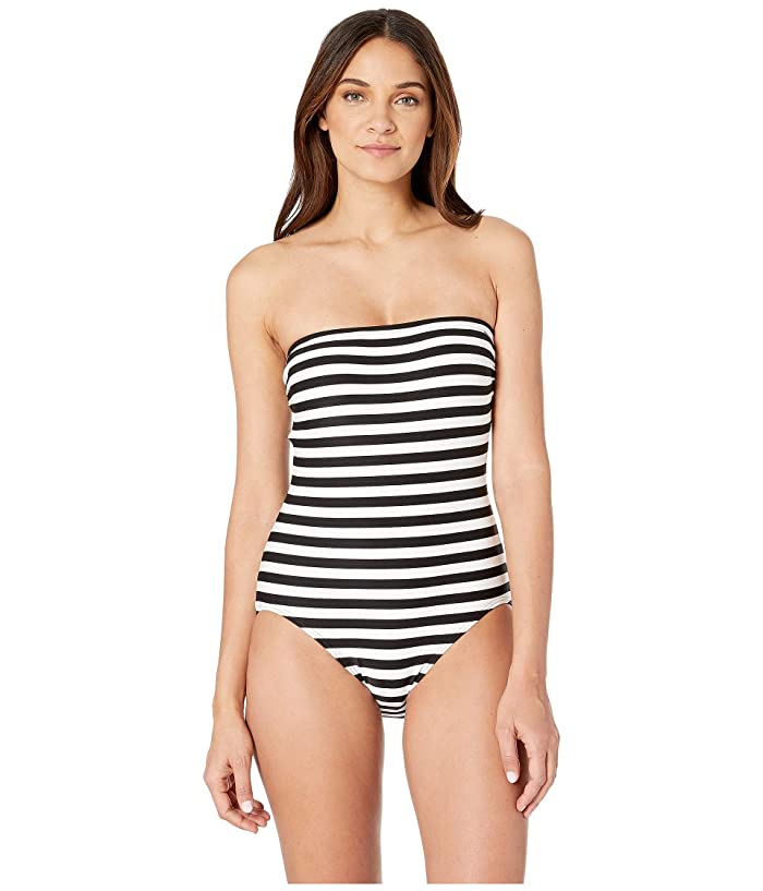 Kate Spade New York Cape May Classic Bandeau One-Piece w/ Removable Soft Cups (Black) Women