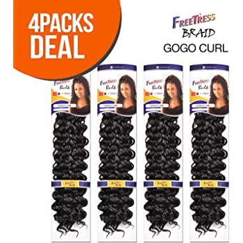 Synthetic Hair Braids FreeTress GoGo Curl (4-PACK, 1B)