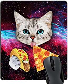 Gaming Mouse Pad Custom,Cute Space Cat Kitten Eat Pizza Funny Mouse Pad Colorful Glitter Galaxy Nebula Mouse Pad Mat Non-Slip Rubber Large Mousepad - 9.8(L)x 11.8(W) inch