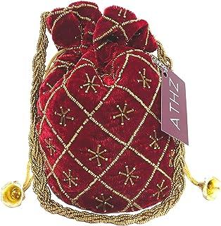 ATHZ Velvet MAROON potli bag Wristlets Potli Bag for Gifting Floral Pattern handbags Puches (Maroon)
