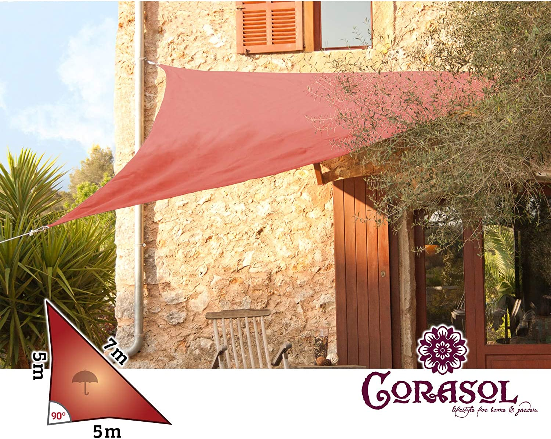 Corasol 110398 Premium Sonnensegel inkl. Zubehr, 5 x 5 x 7 m, 90° Grad Dreieck, wasserabweisend, rost-rot
