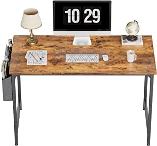 """CubiCubi Study Computer Desk 47"""" Home Office Writing Small Desk, Modern Simple Style PC Table, Black Metal Frame, Rustic B..."""