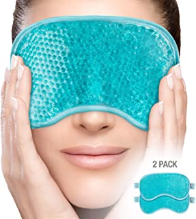PerfeCore Eye Mask (2Pack) Get Rid of Puffy Eyes Migraine Relief, Sleeping, Travel Therapeutic Hot Cold Compress Pack With Cover Gel Beads, Spa Therapy Wrap for Sinus Pressure Face Puffiness Headaches