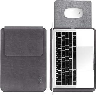 TECOOL 13 Tums Läderfodral för Bärbar Dator, Mikrofiber PU-fodral Vattentåligt Skyddshölje För MacBook Air 13, MacBook Pro...