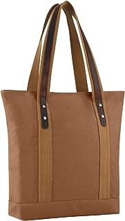 Plambag Canvas Genuine Leather Tote Retro Shoulder Bag (Brown)