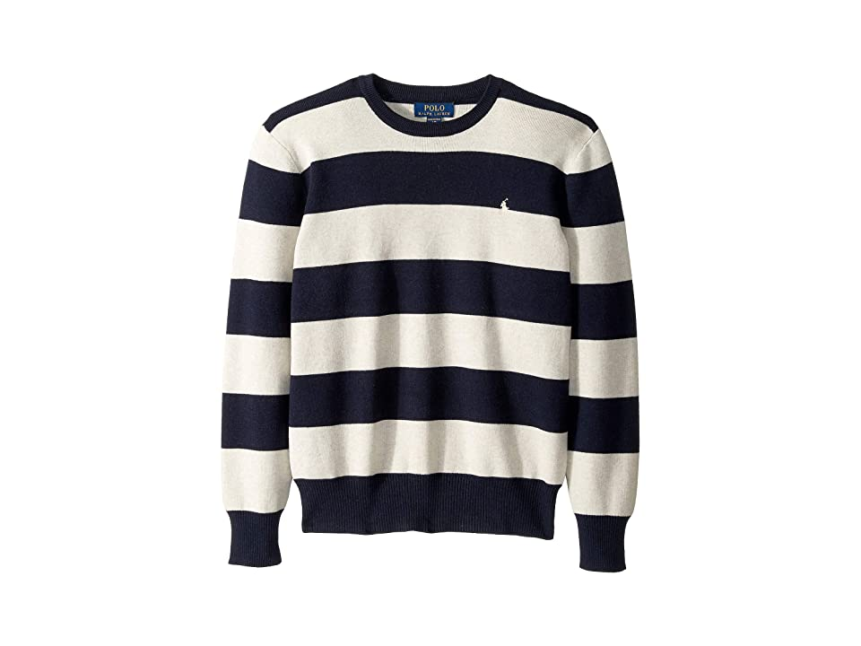 Polo Ralph Lauren Kids Striped Cotton Sweater (Big Kids) (Navy Heather Multi) Boy