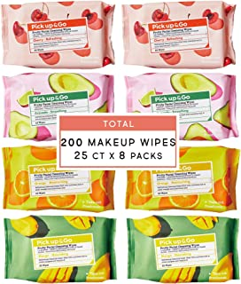 Pick Up & Go Fruity Facial Cleansing Wipes | Makeup Remover Wipes | 25ct (8pk) Makeup Eraser Cloth (Assorted)