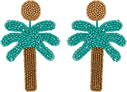 "Kenneth Jay Lane 3"" Gold Top/Green Seedbead Palm Tree Post Earrings"