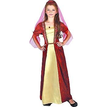 Generique - Disfraz de Princesa Medieval Rojo niña M 7-9 años (120 ...