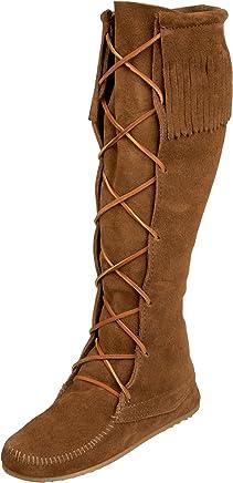 Minnetonka Women's Front Lace Hardsole Knee Hi Mocassins Boots