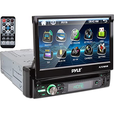 """Pyle Single DIN Head Unit Receiver - In-Dash Car Stereo with 7"""" Multi-Color Touchscreen Display - Audio Video System with Bluetooth for Wireless Music Streaming & Hands-free Calling - PLTS78DUB, BLACK"""