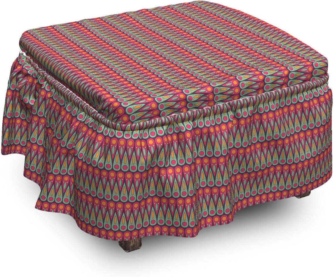 Lunarable Tribal Ottoman Cover Folk Shape Safety and trust Drop Motifs Max 81% OFF Style 2