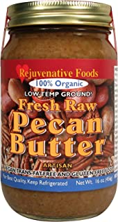 Fresh-Pure-Raw Smooth Organic Pecan Butter Rejuvenative Foods Low-Temp-Ground Vegan Artisan-Ayurvedic In-Glass Vitamin-Protein-Antioxidant-Mineral-Nutrition USDA-Certified-Organic-16 oz