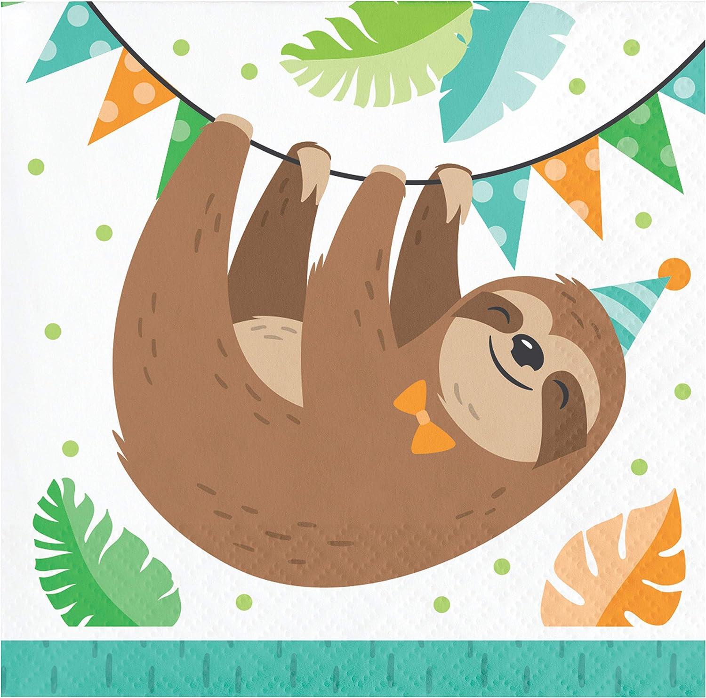 Creative Converting Sloth Party Beverage Napkins, 16 ct, Multico