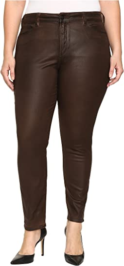 Plus Size Alina Legging Jeans in Faux Leather Coating in Mahogany Brown Leather Coating