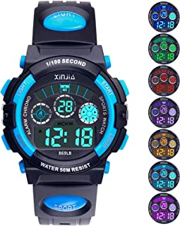 Kids Digital Watch, Boys Girls 50M(5ATM) Waterproof 7 Colors LED Multifunctional Sports Outdoor Wrist Watches with Alarm for Children