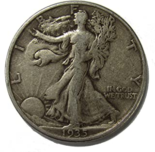 1935 D Walking Liberty 90% Silver Half Dollar Grades Fine to XF with Full Rim Date and Motto US Mint