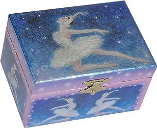 Splendid Music Box Co. Metallic Dark Blue Ballerina Dancing Papier Musical Jewelry Box Plays Swan Lake