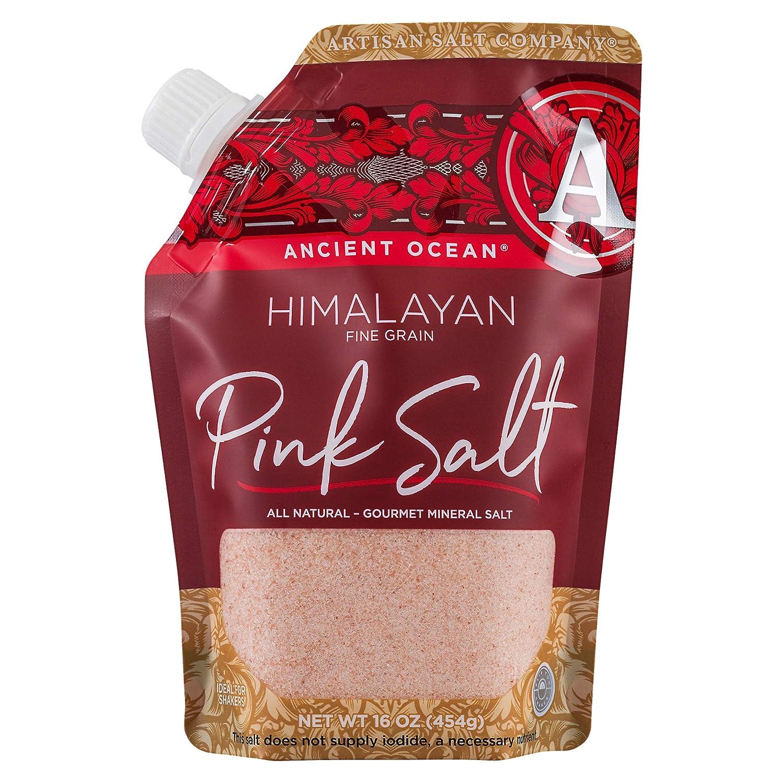 Artisan Salt Company Ancient Ocean Himalayan Pink Salt, Fine Grain, Pour Spout Pouch, 16 Ounce