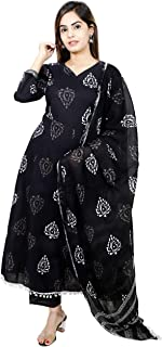 Libaas Cotton 3/4 Sleeve Floral Printed Salwar Suit with Dupatta For Women, Pom Pom, Anarkali Suit Set