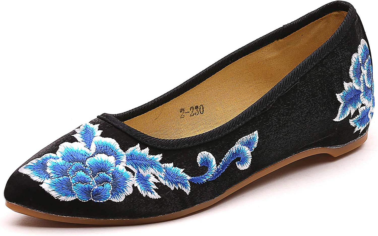 TN TANGNEST Women's Ethnic New popularity Style Pointed Flower OFFicial mail order Toe Embroidered