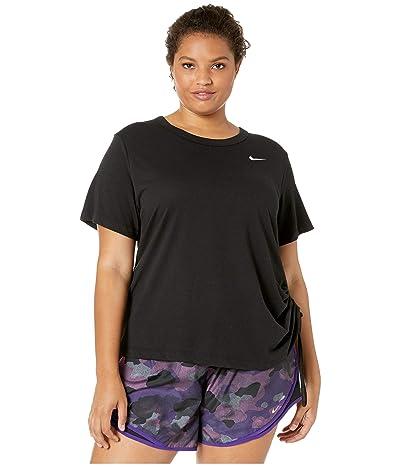Nike Miler Top Short Sleeve Cinch (Size 1X-3X) (Black/Reflective Silver) Women