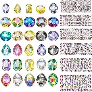 Bememo 2000 Pieces 3D Crystal AB Color Flat Back Rhinestones Nail Art DIY Crafts Gemstones with Nail Art Gem Stones (2030 ...