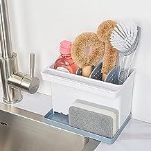 YOHOM Kitchen Sponge Holder Sink Caddy Brush Holder with Dish Cloth Hanger Plastic Scrub Holder for Countertop Organizer w...