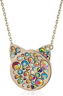 Betsey Johnson Women's Multi-Stone Pave Cat Pendant Necklace, One Size