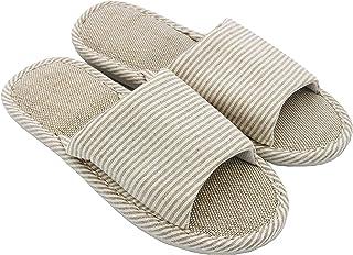 APIKA Dames- en Heren Katoen Vlas Casual Zacht Licht Open Teen Slippers Comfortabel en Ademend Huis Slippers Antislip voor...