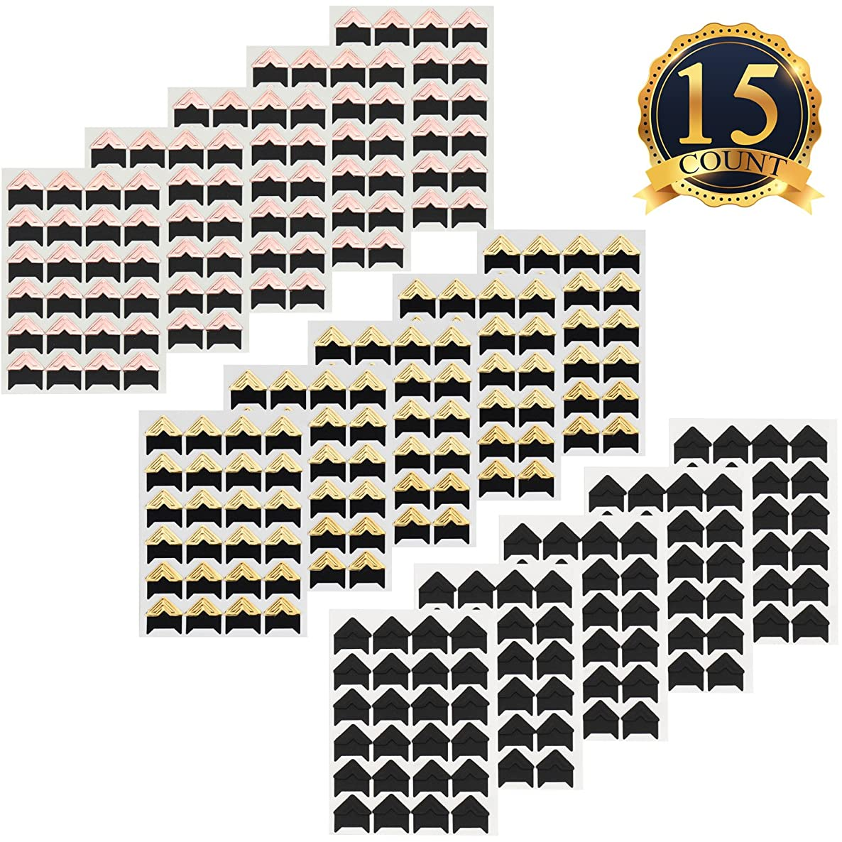15 Sheets Photo Corners Self Adhesive Photo Mounting Sticker Paper Corner Stickers for Scrapbooking Album Dairy, Black,Gold and Rose Gold