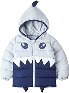 Unisex Baby Winter Coats Dinosaur Star Lined Hoodie Jackets