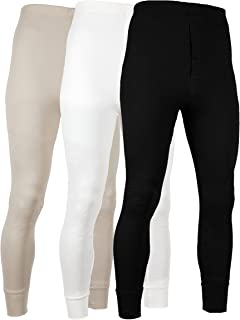 Men's Long Johns Thermal Base Layer Pants 100% Cotton Fleece Lined Underwear -Pack of 3