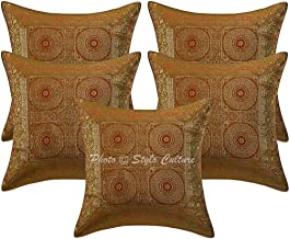 Stylo Culture Brocade Bohemian Decorative Cushion Covers Mustard Yellow 40 x 40cm Mandala Tapestry Couch Scatter Cushions ...