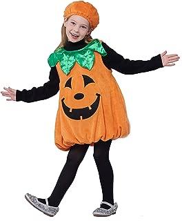 IKALI Girls Pumpkin Costume, Lantern Faces Fancy Dress up for Halloween Party (3-4T)