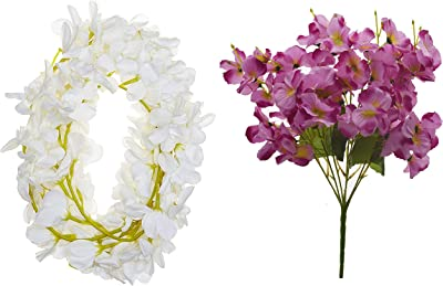 Fourwalls Artificial Hanging Butterfly Orchid (10 cm x 10 cm x 180 cm, White, Set of 2) + Artificial Rose Flower Bunches for Home and Office Décor (55 cm Tall, Peach, 5 Branches)