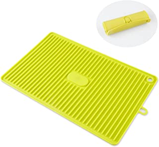 LUXEAR Dish Drying Mat Multi-purpose Silicone Draining Pads Countertop Mat Drain pads Suitable for Camping Kitchen Living Room Deep trough Fast Drying Non-slip Durable - Foldable for Storage (Green)
