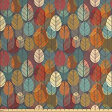 Ambesonne Autumn Fabric by The Yard, Colorful Round Leaves Artwork Seasonal Repetition..