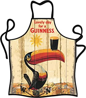 Guinness Toucan 100% Cotton Apron, Creamy Colour With Red Trim