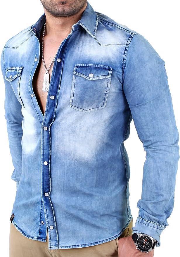Reslad Camisa vaquera para hombre Slim Fit Vintage Denim Camisa vaquera color azul desgastado   Camisa de ocio 100% algodón RS-7109