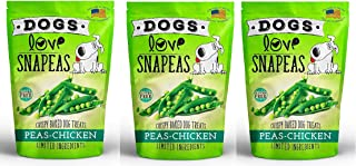 Dogs Love Snapeas Crispy Baked Dog Treats, 2.5 Ounce Bags, Chicken and Pea Flavor, Gluten and Wheat Free Pet Snacks, 3 Pack