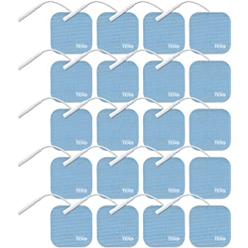 TENS Wired Electrodes Compatible with HealthMateForever, 2 inch x 2 inch Premium HealthMate Compatible Replacement Pads for TENS Units, Discount TENS Brand (2 inch x 2 inch 20 Pack)