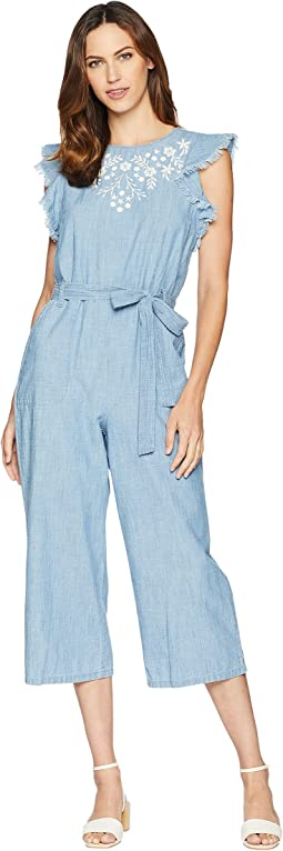 Ruffle Sleeve Embroidered Tie Waist Jumpsuit